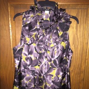 J Crew Midnight Floral silk sleeveless top 10 EUC